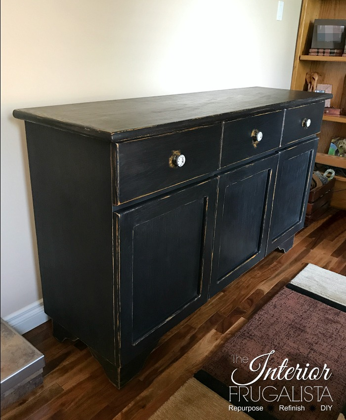 Wax Puck Distressed Painted Cabinet After