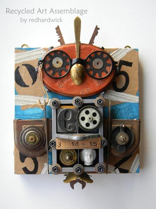 my owl barn jen hardwick recycled art assemblage