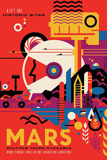 Travel poster for going on a grand tour to Mars