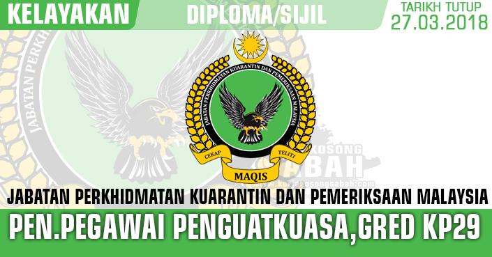 Jawatan Kosong Penolong Pegawai Penguatkuasa Gred Kp29 Jawatan Kosong Terkini Negeri Sabah