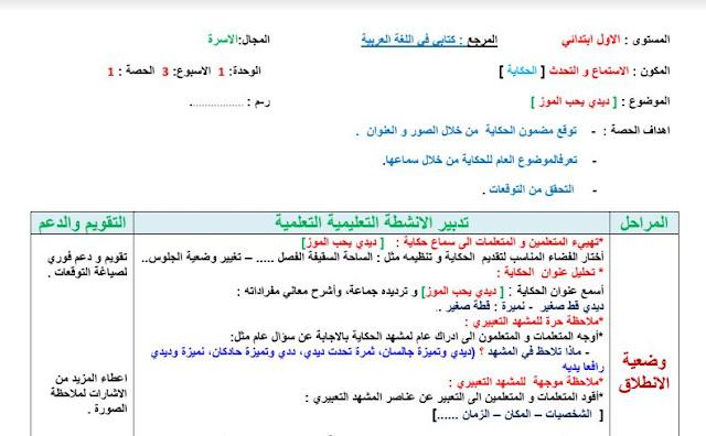 جذاذات الاستماع والتحدث للمستوى الأول الأسبوع 3 من الوحدة 1 ديدي يحب الموز مرجع كتابي في اللغة العربية