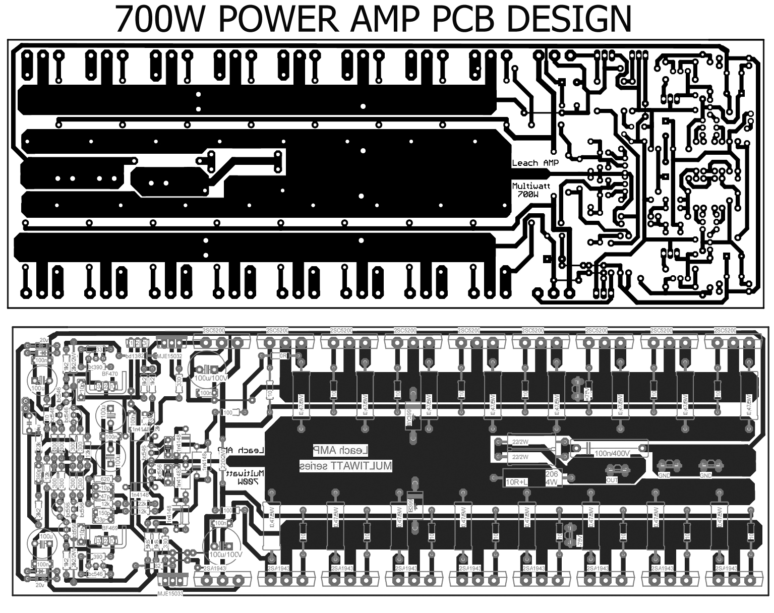 700W Power Amplifier with 2SC5200, 2SA1943 - Electronic Circuit