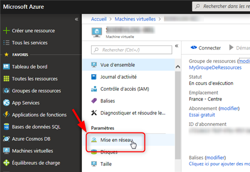 Azure Cloud - Mise en réseau de la machine distante