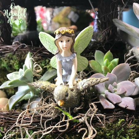 fairy garden mini ceramic bird