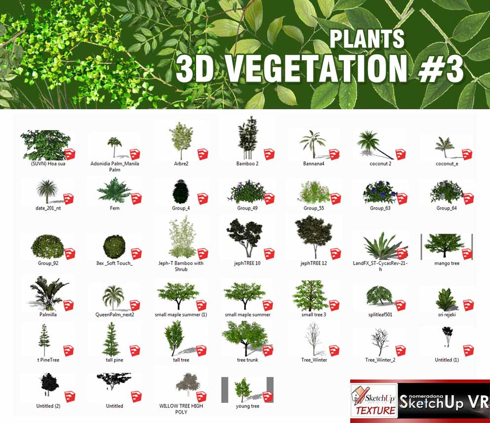végétation sketchup