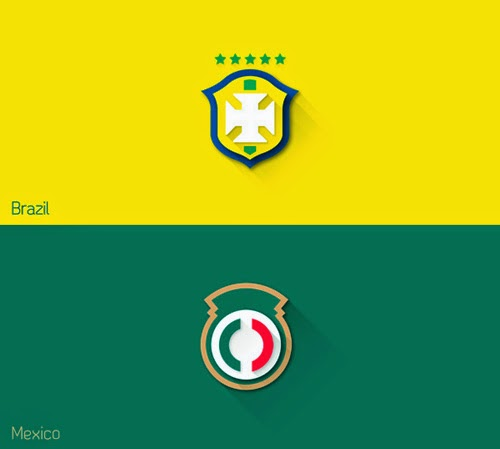 Fifa World Cup Brazil 2014 and  Flat Design Shields