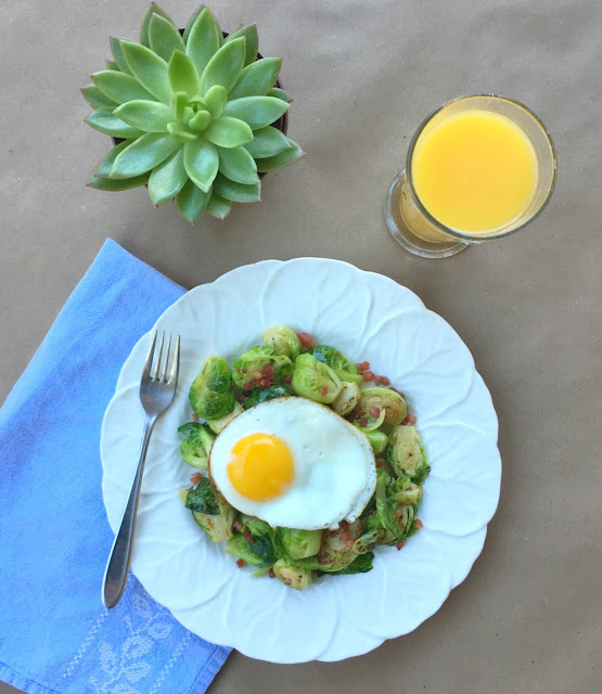Brussel Sprout Hash with Sunny-side up Egg Recipe - Perfect Fall Breakfast | www.jacolynmurphy.com
