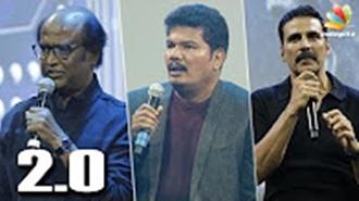 Rajini, Shankar, Akshay Kumar interacting with Karan Johar at Robo 2.0 First Look Launch