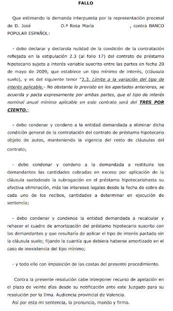 Nueva sentencia ganada de cl usulas suelo en valencia for Hipoteca clausula suelo banco popular