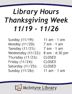 Library Hours - Thanksgiving 2017