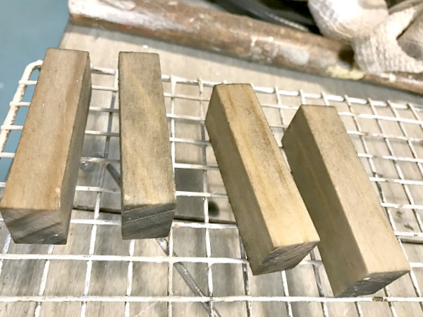 Antiqued wooden blocks for ornaments