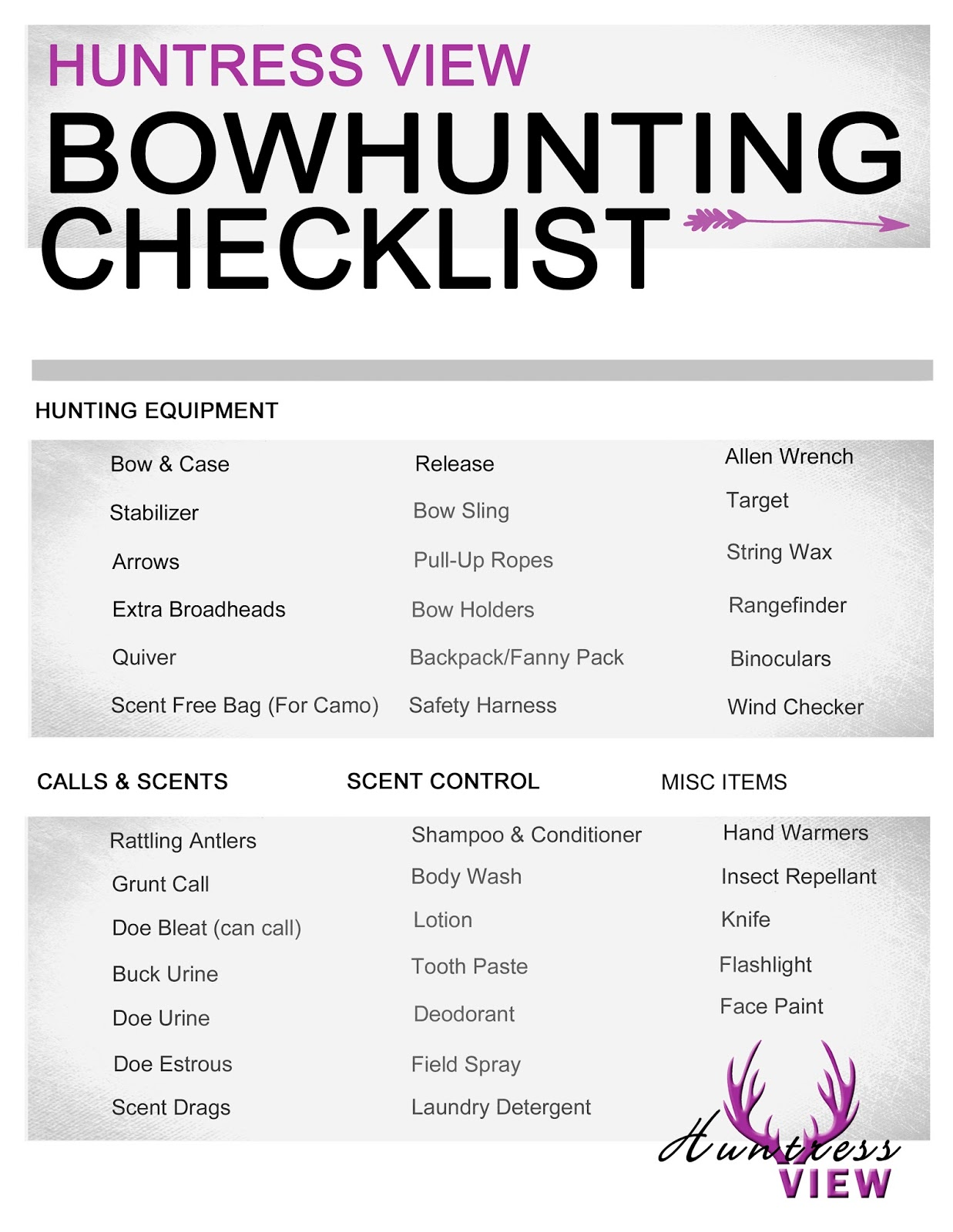 Huntress View Bow Hunting Gear Checklist For Women Hunters