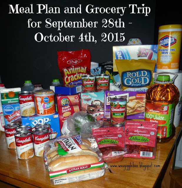 meal plans, grocery budget of $50.00 a week,