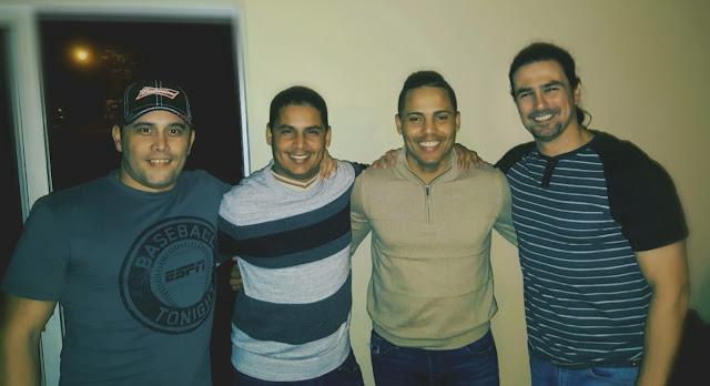 De izquierda a derecha Daniel Palacios, Víctor Anaya, Damián D'Averhoff y Daniel de Malas. Parte del equipo cubano que labora en la prestigiosa cadena ESPN