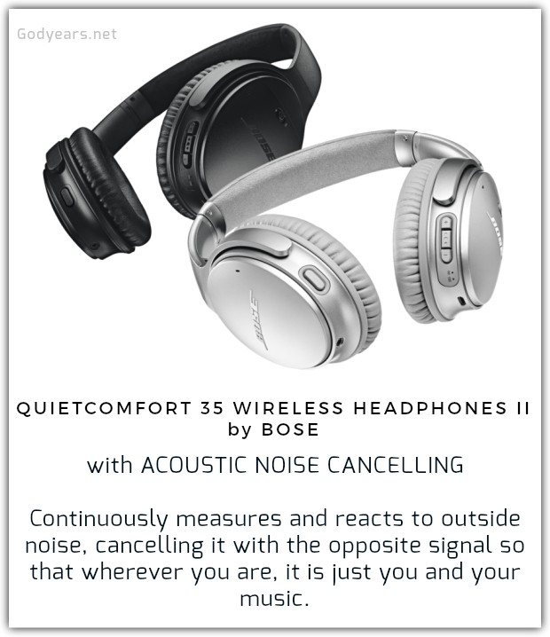 The amazing Acoustic Noise Cancelling feature in the Quiet Comfort 35 Wireless Headphones II by Bose that - with the mere flip of a switch - actually listens to outside noise and cancels it as it goes, so that even on the busy streets of Bombay Mumbai, you can hear every musical note - from the perfect chords of Pink Floyd's guitar arpeggio at the start of 'Comfortably Numb' to the iconic reverberation effects in A.R. Rahman's magical 'Chinna Chinna Asai'.
