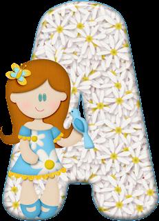 Abecedario con Margaritas Blancas y Nena con Pajarito.  Alphabet with White Daisies and a Girl with a Bird.