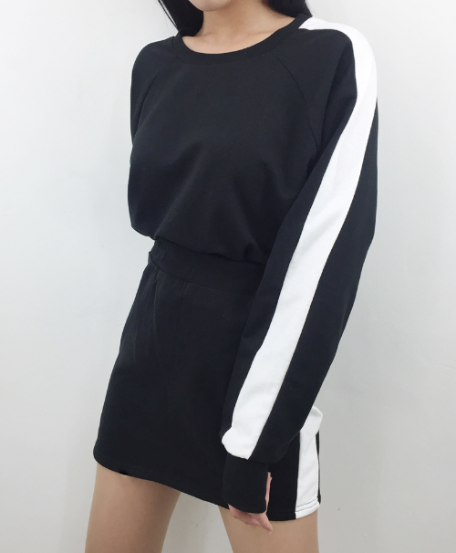 Contrast Side Panel Sweatshirt And Skirt Set