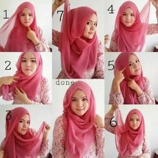 cara memakai hijab segitiga modern