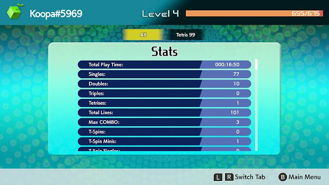 Tetris 99 stats screen Nintendo Switch