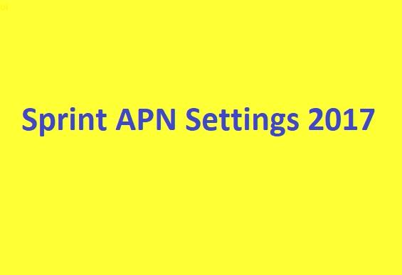 Sprint APN Settings 2020
