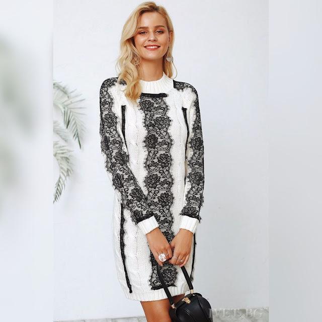 Μοντέρνο   άσπρο με μαύρο μπλουζοφόρεμα BEVERLY