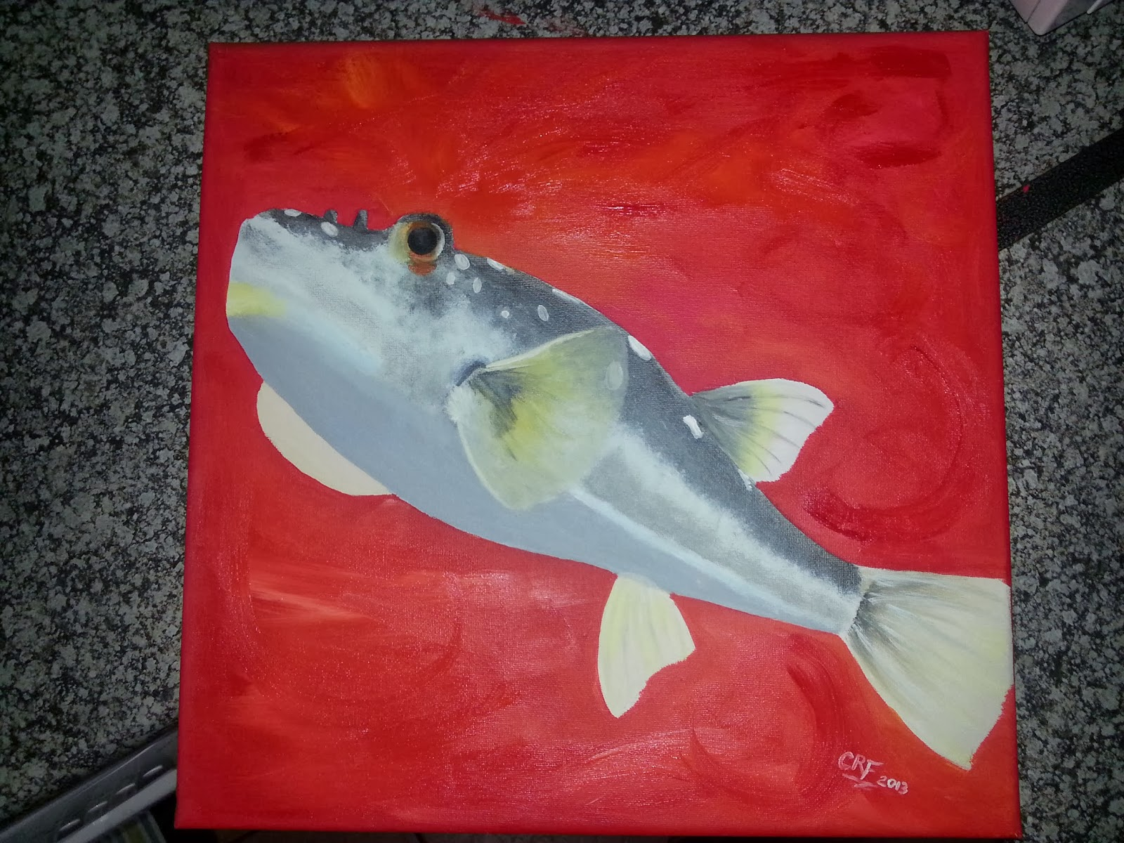 How to paint a puffer fish 5 completed painting