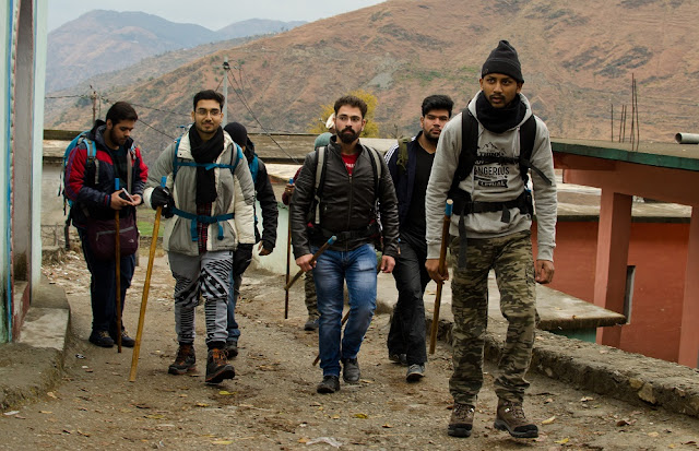 Starting the trek from Pantwari village in the morning