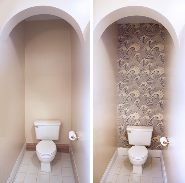 Removable wallpaper in the bathroom | How About Orange