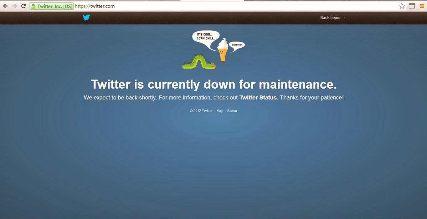 Twitter is currently down for maintenance