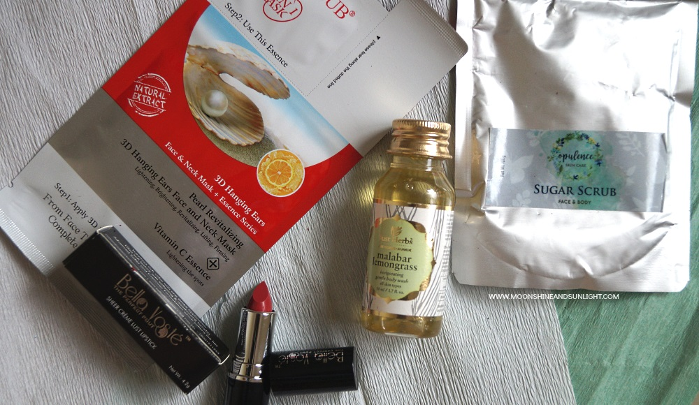 Contents of August Fab Bag review, Indian beauty blog