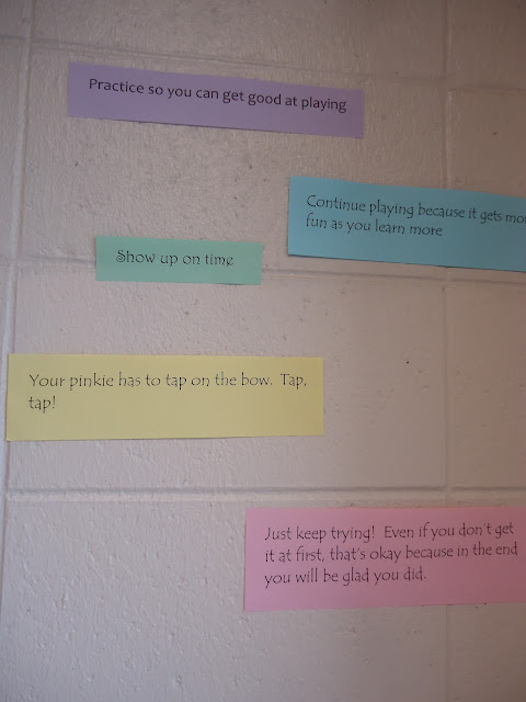 Advice and words of wisdom to next year's orchestra members bulletin board