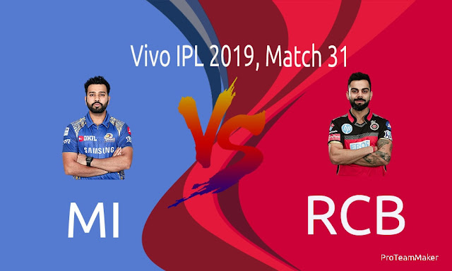 IPL 2019 MI vs RCB Dream11 Fantasy Cricket Tips, Prediction, Playing XI