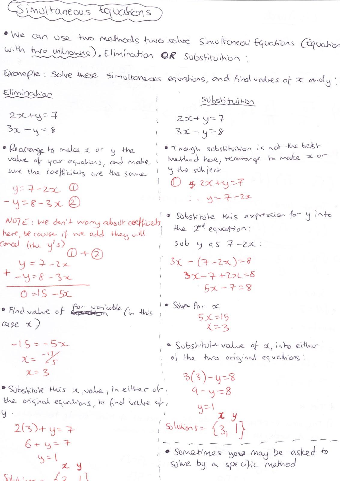 Edexcel Gcse Maths Simultaneous Equations With A Quadratic