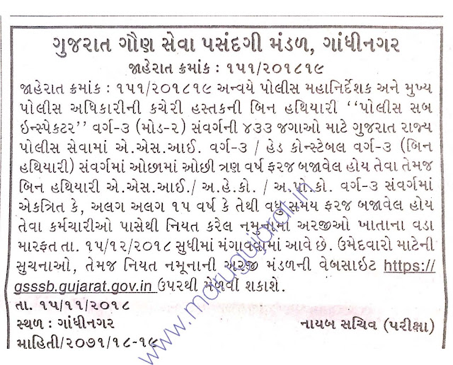 GSSSB Recruitment for 433 Khatakiy PSI Posts 2018