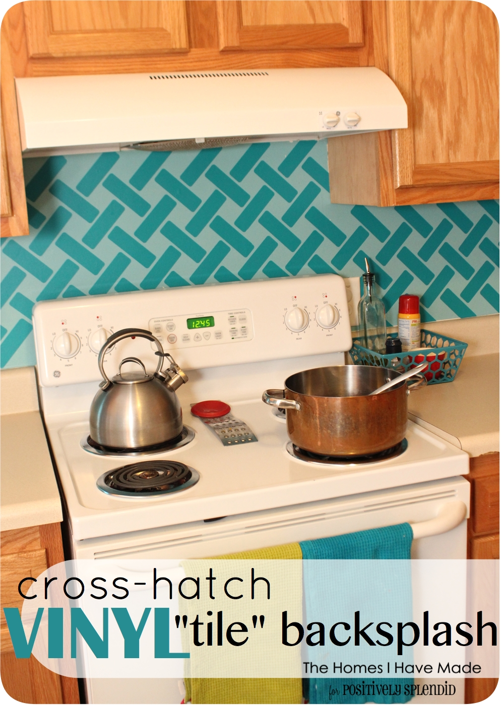 Cross Hatch Vinyl Tile Backsplash