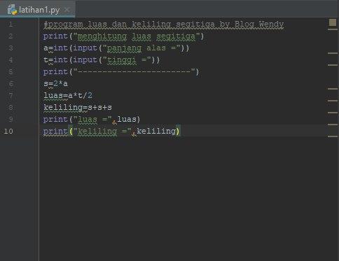 Kodingan Menghitung Luas dan Keliling Lingkaran Python
