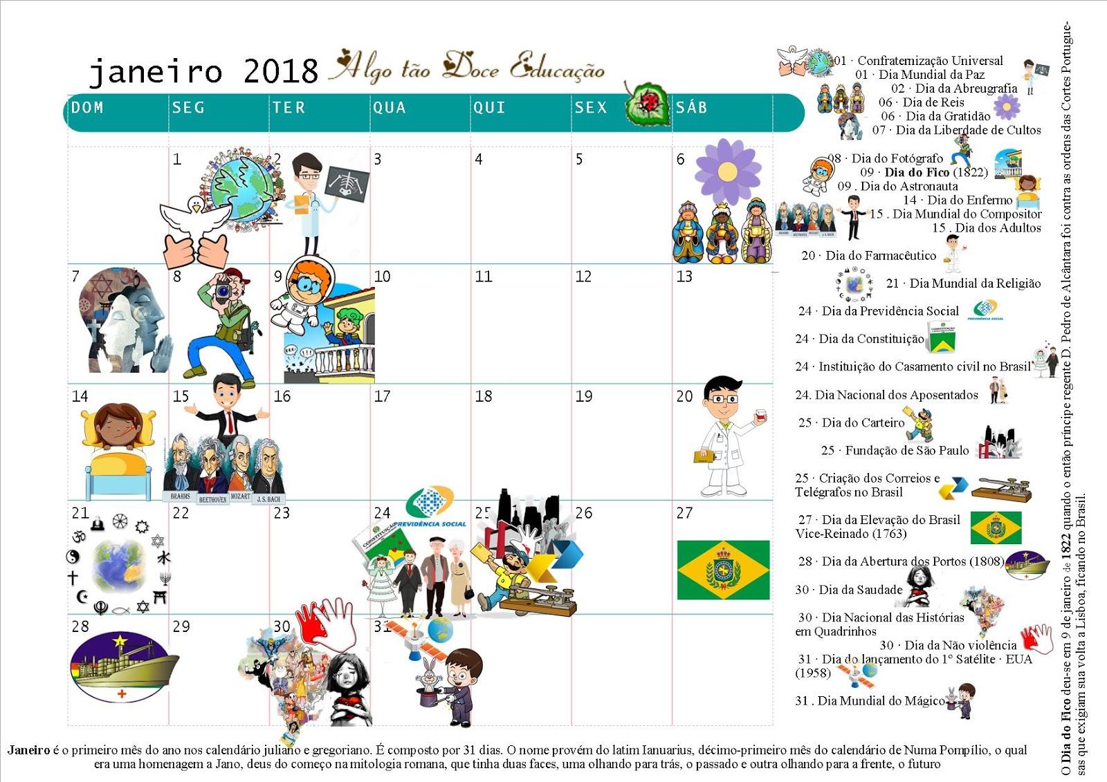 Conhecido ♥Algo Tão Doce Educação♥: Datas comemorativas Janeiro 2018 IM33