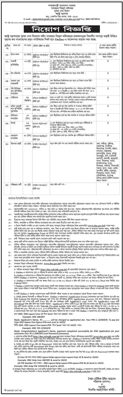 Department of Narcotics Control (DNC) Job Circular 2018