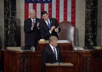 Donald Trump Mike Pence Paul Ryan clapping State of the Union 2017 Joint Address to Congress beginning