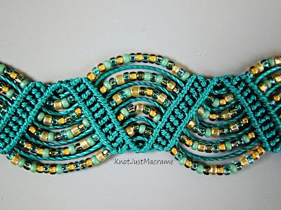 Drunkards path micro macrame bracelet by Sherri Stokey