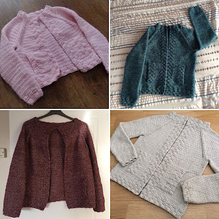 Montage of four crochet cardigans
