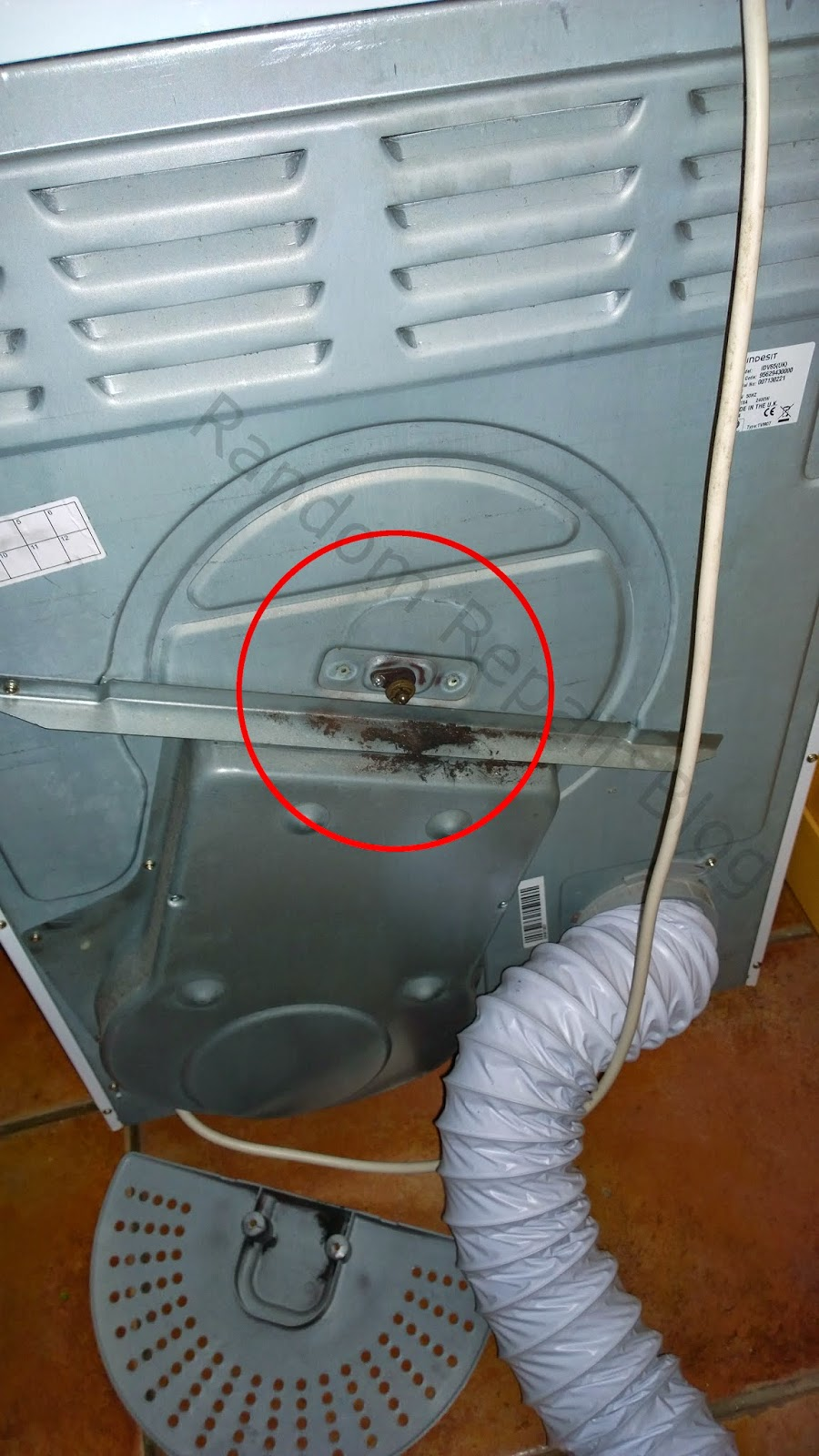 Random Repair Blog Indesit Idv65uk Tumble Dryer Squeaking Wiring I Unplugged And Took The Out From Its Usual Location In Order To Look Round Back Removed A Plastic Cover Find Load Of Black Powder