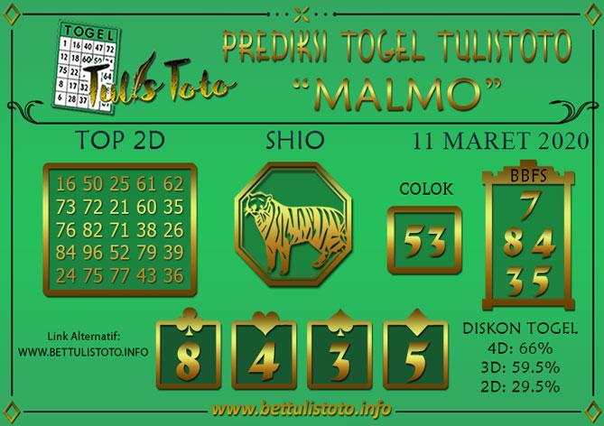 Prediksi Togel MALMO TULISTOTO 11 MARET 2020