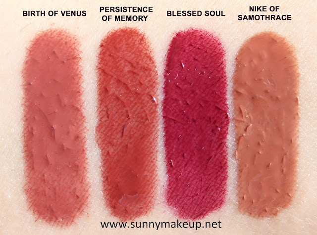 Swatch Neve Cosmetics - Vernissage Natural Gloss. Private Collection. Dall'alto verso il basso, le colorazioni:  Birth of Venus, Persistence of Memory, Blessed Soul, Nike of Samothrace.