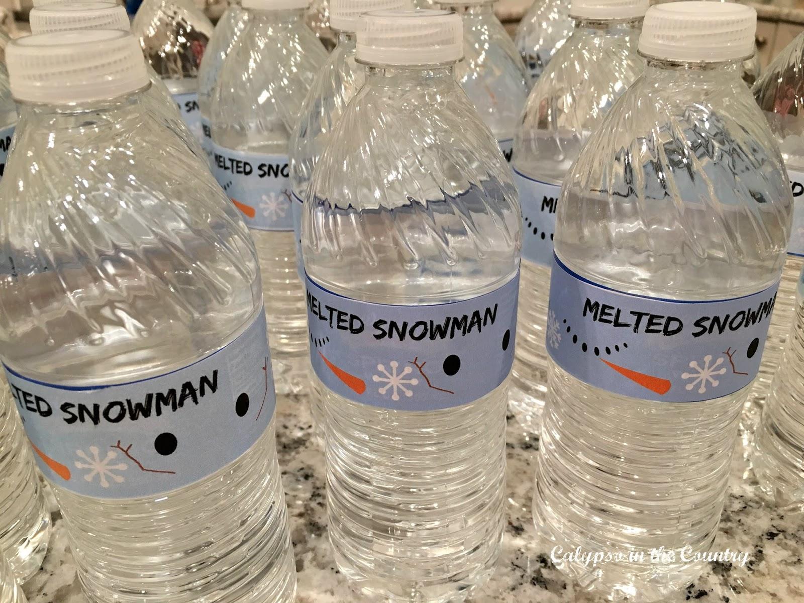 Melted snowman water bottles for bottle flipping