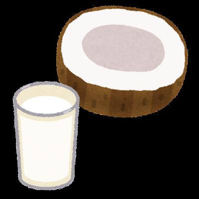 ココナッツミルクのイラスト(グラスと実)