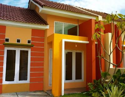 Desain Terbaru Kombinasi Warna Cat Orange, Hitam Dan Putih Tampak Depan