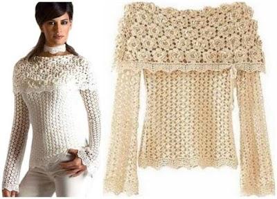 Bello jersey sobre escote floral gráfico crochet