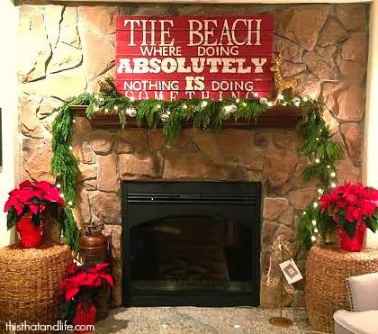 beachy Christmas mantel