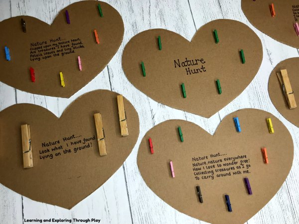 Nature Hunt Cardboard Hearts